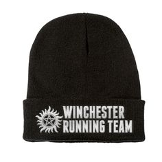 Winchester Running Team on a Black Beanie Run like you've never run before in your life! Why you ask? Because you're apart of the Winchester Running Team, and there are demons chasing you!