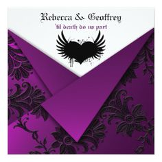 Gothic Purple, Black, White Wedding Invitation