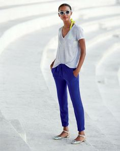 J.Crew linen v-neck pocket tee, neon sculpted halter swimsuit top and the drapey drawstring pant.