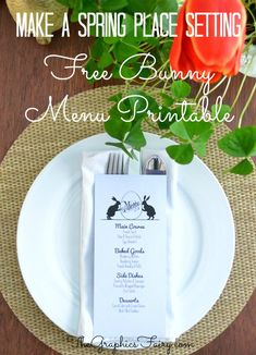 Free Bunny Menu Template! by Emily for The Graphics Fairy