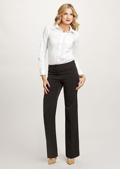 Sexy, simple business attire. Everyone needs that staple white collared shirt.