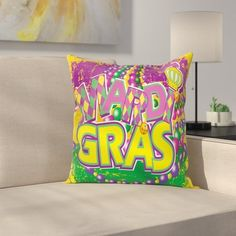 East Urban Home Mardi Gras Grunge Beads Letters Square Cushion Pillow Cover Size: Floral Throw Pillows, Throw Pillow Sets, Outdoor Throw Pillows, Decorative Throw Pillows, Floral Throws, Perfect Pillow, Cotton Pillow, Cushion Pillow, Cover Size