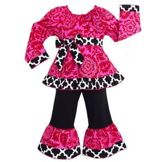 AnnLoren Girl's Hot Pink Floral Blossom and Black / White Lattice Outfit | Overstock™ Shopping - Great Deals on Ann Loren Girls' Sets
