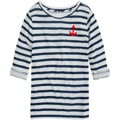 J.Crew Elbow-sleeve tee in stripe with anchor ($48) ❤ liked on Polyvore