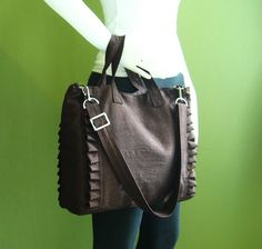 Sale 10  Chocolate  Brown Nylon Tote water resistant by tippythai, $44.00