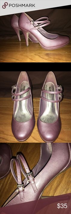 "Double Strap Metallic Purple double strap pump! 3.5""-4"" heel Spring Shoes Heels"