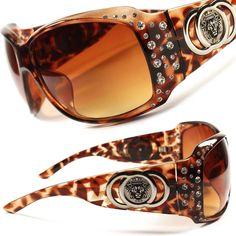 15d76d2941e5 Tortoise Frame Stylish Fancy Bling Rhinestone Oversized Womens Sunglasses  D71C  KLEO  Designer Sunglasses Accessories