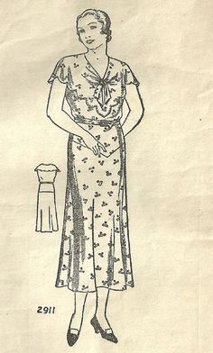Vintage 30s Mail Order Sewing Pattern 2911 Dress Size Bust 46