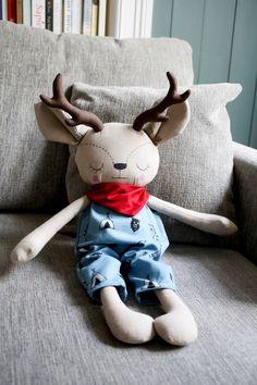 Handmade Boy Deer Cloth Doll by Peanut And Elliott