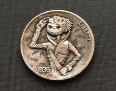 """Hobo Nickel """"BOO"""" Halloween coin carved by Narimantas Palsis (Nari)"""
