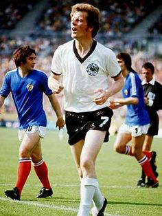 Herbert Wimmer of West Germany in action against Yugoslavia in the 1974 World Cup Finals.