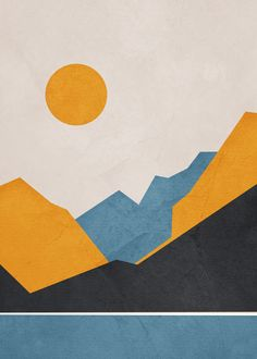 Line Mountain Beauty III Art Print by flowline Art Prints, Poster Prints, Abstract Canvas, Canvas Art, Simple Canvas Paintings, Desert Art, Fauvism, Mid Century Art, Wall Collage