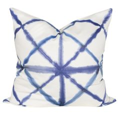 A gorgeous indigo shibori fabric that is made of cotton with a smooth finish.Perfect for drapery, curtains, roman blinds, decorative pillows, bedding acces Modern Throw Pillows, Boho Pillows, White Pillows, Decorative Pillows, Shibori Fabric, Drapery Fabric, Curtains, Vintage Hotels, Home Decor Fabric