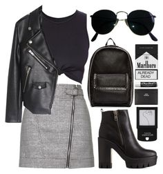 """""""Jet Black Heart"""" by a-chendriyns ❤ liked on Polyvore featuring Topshop, Charlotte Russe, STELLA McCARTNEY, Ray-Ban, Chapstick and Acne Studios"""