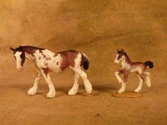 Micro Mini Resin Draft Mare/Foal Set Bay Sabino by Maggie Bennett/Jayne Sabino | eBay
