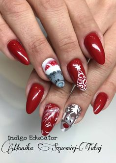 Gel Brush Red Hot Peppers by Monika Szurmiej Tutaj Indigo Educator #red #rednails #christmas #winter #teddynear #nails #nailart