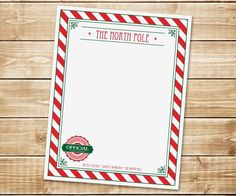 Santa's Stationary from The North Pole - Perfect for Elf on the Shelf or Letter from Santa