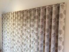 The wave heading creates a modern, stylish look. Wave Curtains, Family Room, Waves, Windows, Living Room, Stylish, Wood, Modern, Pine