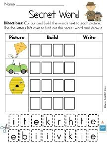 "Secret Words with i_e (CVCe and CCVCe) words! ""Read,"" Build, Write with a fun twist! Students look at the picture, cut and paste the letters at the bottom to build the long I word, then write the word. After they build all their words, the remaining letters will spell the ""secret"" word. Then they build, write, and illustrate it in the empty box. BW & Color versions--- Kid favorite!"