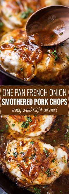 One Pan French Onion Smothered Pork Chops | Juicy pan-seared pork chops, smothered in caramelized onion sauce and 2 kinds of gooey cheese. It's easy to break out of a dinner rut with this fun weeknight meal! #porkchops