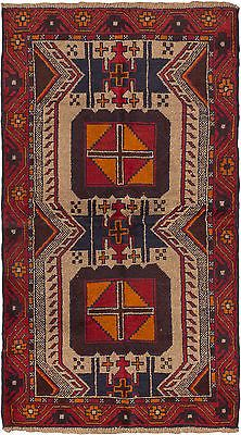 "Hand-knotted Afghan Carpet 3'6"" x 6'0"" Bahor Traditional, Tribal  Wool Rug"