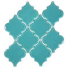 Glass Arabesque Tile (Teal). $19.77 Per Sheet from Wholesalers USA