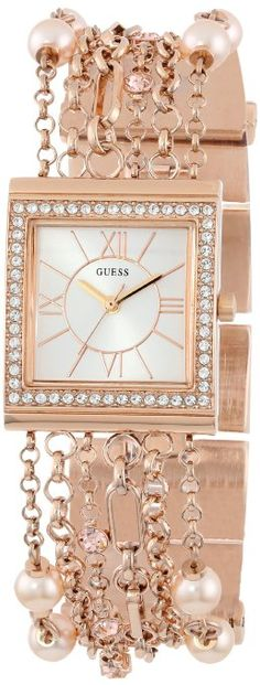 GUESS U0140L3 Rose Gold-Tone Embellished Bracelet Watch: Watches: Amazon.com