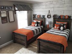 Cutest boys bedroom. Love the accent wall and window covering! Zipper bedding by Beddy's