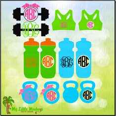 Workout Monogram Base Designs Bundle Instant Download SVG, DFX file and High Quality 300 dpi JPEG - pinned by pin4etsy.com