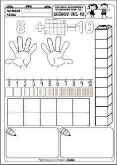 La siguiente ficha trabaja todas las combinaciones de las sumas que dan 10 (complementarios o amigos del 10) en la que se les pide al alumno una completa representaciones de la misma operación: en los dedos de las manos, conpiezas de construcción, en la recta numérica, con palillos, en cajas …
