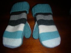 Striped Turquoise Blue Gray Felted Wool Mittens by MittenMomma, $20.00