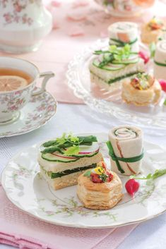 Accents of green on Cucumber Tea Sandwiches with Herb Aïoli, Ham-and-Apricot Pinwheels, and Lobster Salad in Puff Pastry highlight the season's abundance of tender vegetables and herbs.
