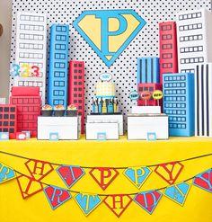 Vintage Pop Art Superhero Birthday Party // Hostess with the Mostess® Superman Party, Superhero Birthday Party, Birthday Party Themes, Boy Birthday, Superman Birthday, Birthday Ideas, Super Hero Birthday, Happy Birthday, Themed Parties