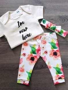 Organic Baby Girl, Onesie®, One Piece, Bodysuit, Leggings, Pants, Headband, Top Knot, Floral, Flowers, Boho, Set, Bundle