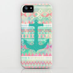 Sailing Aztec | Emerald Nautical Anchor Pastel Watercolor Aztec iPhone Case by Girly Trend - $35.00