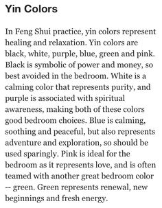 Feng Shui Bedroom Tips | In feng shui practice yin colors represent healing & relaxation.