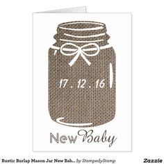 Rustic Burlap Mason Jar New Baby Announcement