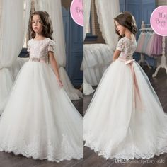 b829d439c29 2017 Lovely Princess Flower Girl Dresses Cap Sleeves Lace Appliques Long Kids  Birthday Party Gowns Kids