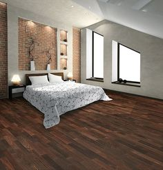 Mesmerizing Small Bedroom Design Idea With Unique Glass Windows and Classic Lamps Also Laminate Wooden Floor Tiles Small Room Bedroom, Small Rooms, Bedroom Ideas, Bedroom Pictures, Master Bedrooms, Modern Bedroom, Bedroom Decor, Fake Wood Flooring, Flooring Ideas