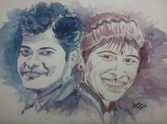 Indian Couple Portrait by Harinarayan Sreenivasan. [Watercolor on Paper]