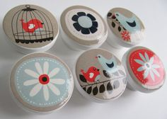 Light Blue and Beige Bird Knobs, Birdcage Drawer Knobs- Wood Knobs- 1 1/2 Inches - Set of 6. $19.50, via Etsy.