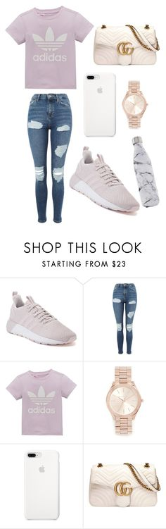 """! <3 !"" by alyssapreps on Polyvore featuring adidas, Topshop, adidas Originals, Michael Kors, Gucci and S'well"