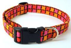 Hot Pink Houndstooth Adjustable Dog Collar  by ShortcakeDesigns, $16.00