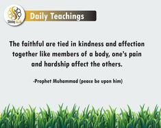 The faithful are tied in kindness and affection together like members of a body, one's pain and hardship affect the others.  - Prophet Muhammad (Peace be upon him) Finding The Right Job, Arabic Phrases, Peace Be Upon Him, Islam Religion, Prophet Muhammad, Busy Life, Holy Quran, People Around The World, Peace Of Mind