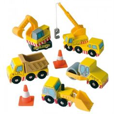 This is a set of five construction vehicles with moving parts: digger, dumptruck, crane, roller and bulldozer. Two cones also included. Works well with the Car Playmat by Le Toy Van. The set is perfectly scaled with all other vehicles in the extensive car