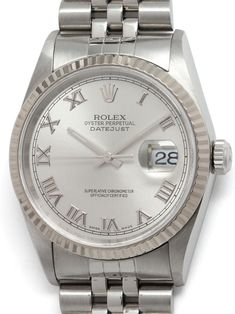 Rolex Stainless Steel Datejust ref 16234 serial circa Featuring diameter Oyster case with WG fluted bezel and sapphire crystal. With popular original Roman Rodium dial. Modern Watches, Rolex Datejust, 1 Year, Rolex Watches, Stainless Steel, Vintage, Vintage Comics, Primitive