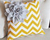 Gray Corner Dahlia on Mustard and White Zigzag Pillow 14 X 14 Chevron Flower - Pillows - Zig Zag Pillows