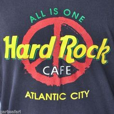Hard Rock Cafe Atlantic City NJ Large T-Shirt Peace Sign All Is One Rock N' Roll