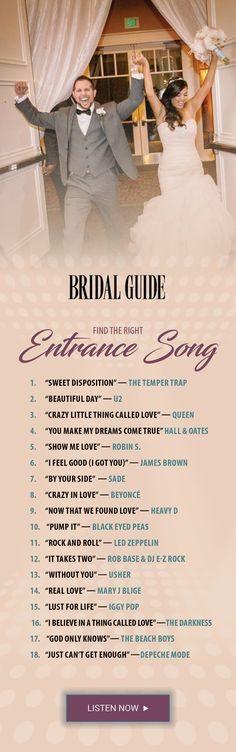 Find the Right Reception Entrance Song Wedding entrance songs Reception Entrance Songs, Wedding Songs Reception, Wedding Song List, Wedding Playlist, Wedding Music, Wedding Tips, Trendy Wedding, Wedding Bells, Perfect Wedding