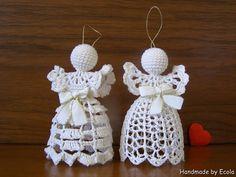 Handmade by Ecola & Dana Art - Aniołki 2015 Crochet Angels, Beach Cottage Style, Crochet Earrings, Xmas, Quilts, Ornaments, Handmade, Diy, Jewelry
